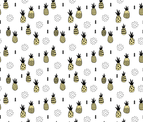 Trendy summer spring geometric pineapple fruit scandinavian style yellow fabric by littlesmilemakers on Spoonflower - custom fabric