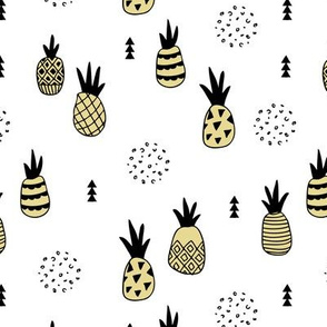 Trendy summer spring geometric pineapple fruit scandinavian style yellow