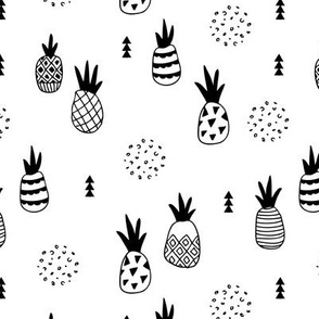 Trendy summer spring geometric pineapple fruit scandinavian style black and white