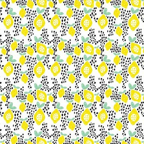 Cool scandinavian abstract topical fruit summer spring fabric green yellow XS