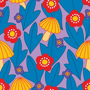 1970s Flowers and Mushrooms