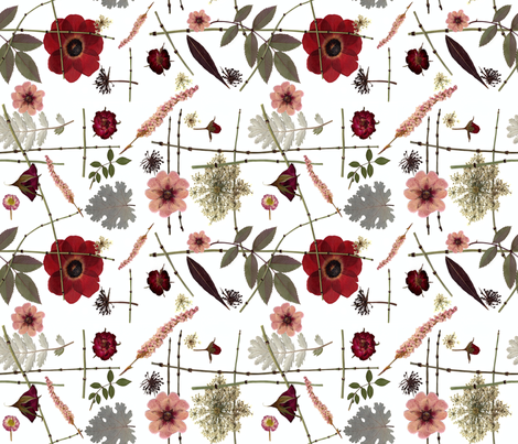 Red Roses and Anemones fabric by mypetalpress on Spoonflower - custom fabric