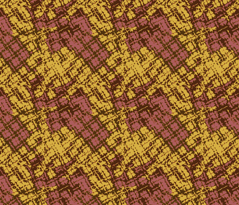 Distorted Plaid in Potter's Clay and Spicy Mustard fabric by bloomingwyldeiris on Spoonflower - custom fabric