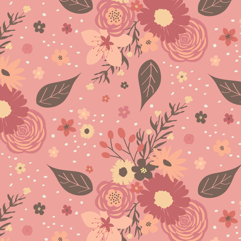Floral Mix -Coral fabric by bohemiangypsyjane on Spoonflower - custom fabric