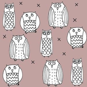 Owls Dusty Pink