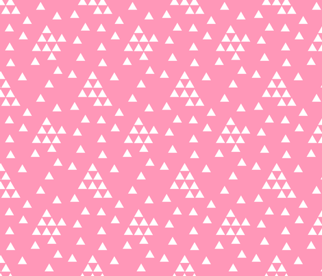 triangles_random_white_on_bright_pink fabric by mspiggydesign on Spoonflower - custom fabric