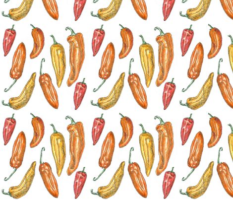 Illustrated Sweet Peppers fabric by designsbydominic on Spoonflower - custom fabric