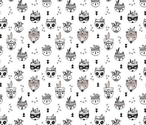 Cool scandinavian geometric woodland animals indian fall winter zoo black and white fabric by littlesmilemakers on Spoonflower - custom fabric