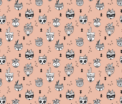 Cool scandinavian geometric woodland animals indian summer zoo coral pink girls fabric by littlesmilemakers on Spoonflower - custom fabric