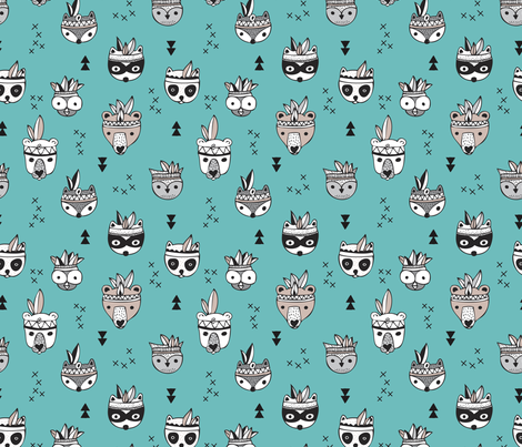 Cool scandinavian geometric woodland animals indian summer zoo blue boys fabric by littlesmilemakers on Spoonflower - custom fabric