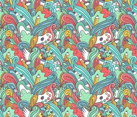 painting doodle pencil pattern fabric by kostolom3000 on Spoonflower - custom fabric