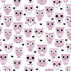 Adorable baby owls for kids pastel retro scandinavian style animal series violet lilac