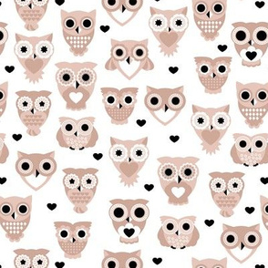Adorable baby owls for kids pastel retro scandinavian style animal series gender neutral beige