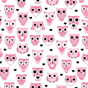 Adorable baby owls for kids pastel retro scandinavian style animal series girls pink