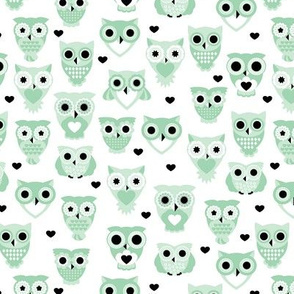Adorable baby owls for kids pastel retro scandinavian style animal series mint