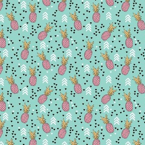 Tropical aqua blue and pink pineapple summer fruit geometric arrow pattern print XS