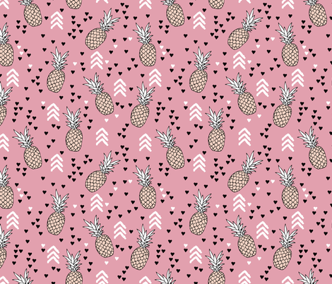 Tropical pink and soft coral pineapple summer fruit geometric arrow pattern print fabric by littlesmilemakers on Spoonflower - custom fabric