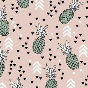 Tropical pastel beige and green pineapple summer fruit geometric arrow pattern print