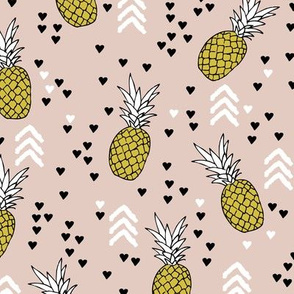 Tropical pastel beige and mustard yellow pineapple summer fruit geometric arrow pattern print