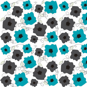 Teal and Grey Flowers