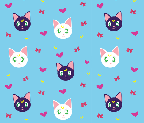 Moon Kitty Power fabric by youraveragenerd on Spoonflower - custom fabric