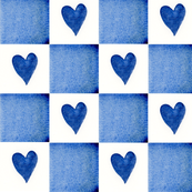 Patchwork blue hearts