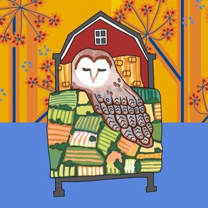 barn owl_quilt block 1 of 3