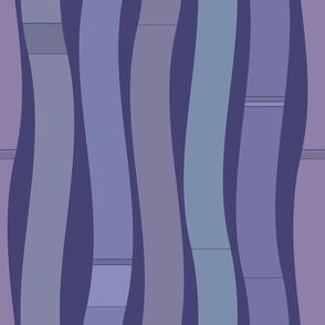 Wavy indigo blue vertical lines