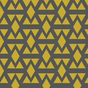 Geometric Triangle Diamonds Gold on Charcoal
