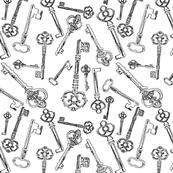 """Stylized Antique Keys on White (2"""")"""