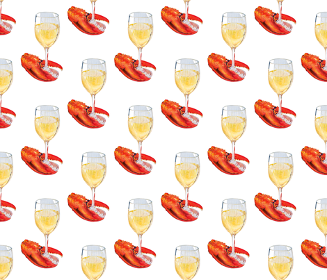 Wine and Lobster Claw fabric by designsbydominic on Spoonflower - custom fabric