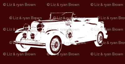 "Classic Car on Burgundy - Small (2.5"")"