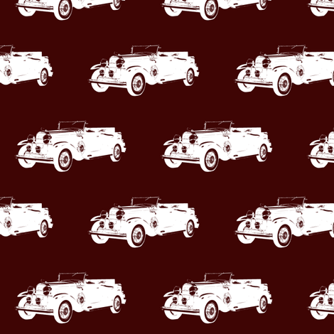 """Classic Car on Burgundy - Small (2.5"""")  fabric by thinlinetextiles on Spoonflower - custom fabric"""