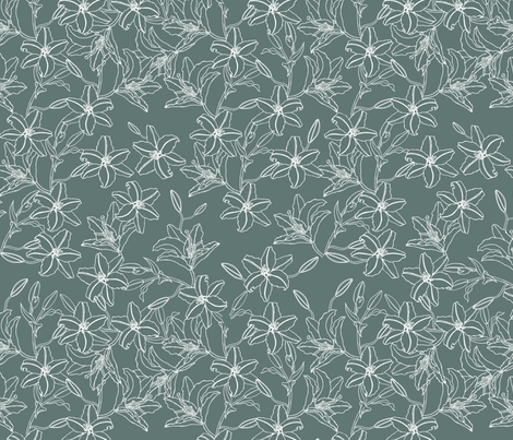 Lilies Bouquet in grey fabric by jar_of_threads on Spoonflower - custom fabric