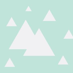 Geometric Triangles Mint w/ white