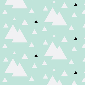 Geometric SML Triangles Mint w/ black & white