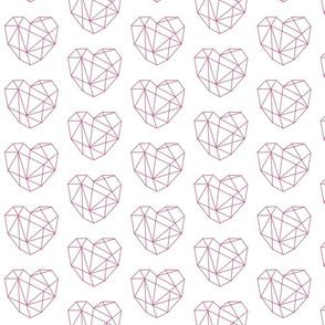 Geometric Hearts - Pink