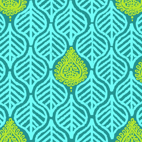 PLANTAIN LEAF - TURQUOISE/LIME