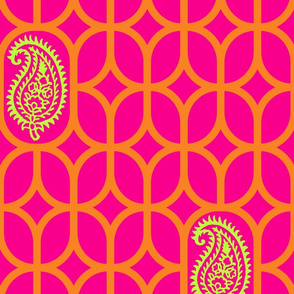 PAISLEY DIAMOND - MAGENTA/ORANGE/LIME