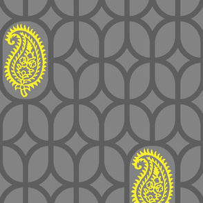 PAISLEY DIAMOND - GREY/YELLOW