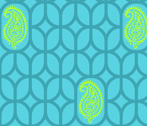 PAISLEY DIAMOND - TURQUOISE/LIME fabric by ginger&wasabi on Spoonflower - custom fabric