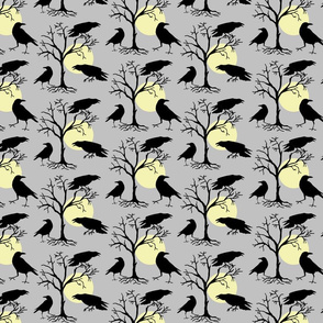 ravens, moon and trees