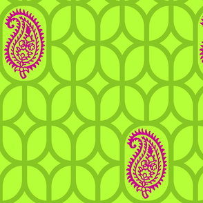 PAISLEY DIAMOND - LIME/GREEN/MAGENTA