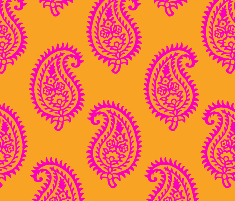 PAISLEY POP - ORANGE/PINK fabric by ginger&wasabi on Spoonflower - custom fabric