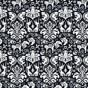 Damask Cats - BLACK