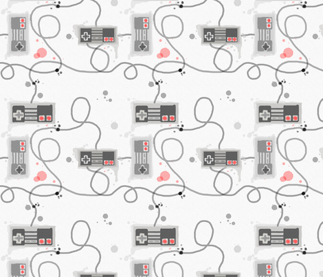 Watercolor Retro Controllers fabric by geekygamergirl on Spoonflower - custom fabric