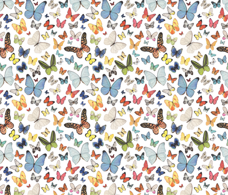 Watercolor Butterflies fabric by mygiantstrawberry on Spoonflower - custom fabric