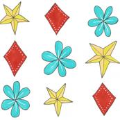 star, flower & diamond