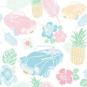 Cuban Cars Tropical - White