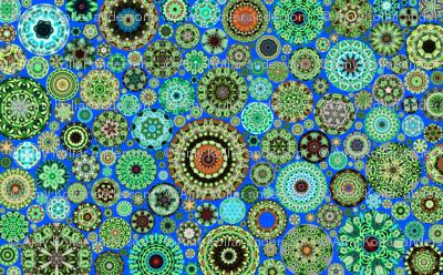 Cheshire Cats Kaleidoscope Circles Bright Blue